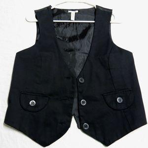 Sz M Black Juniors Stretch Cotton #30E Suit Vest